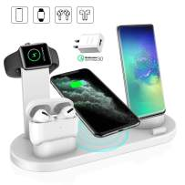 Wireless Charger, QI-EU 4 in 1 Qi-Certified Fast Charging Station for iWatch AirPods Pro, Wireless Charging Stand Compatible for iPhone 11/11Pro/11Pro Max/XR/Xs/Xs Max/X/8/8Plus Samsung Galaxy S20/S10