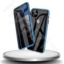 HYAIZLZ iPhone 11 Privacy Glass Case Double Sided 9H Glass Slim Mirror Metal Edge Magnetic Protective Case for iPhone 11 6.1inch,Blue
