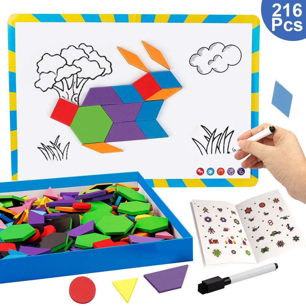 Vanmor 216PCS Magnetic Pattern Blocks Set with 298 Pattern Book & Magnet Board & Drawing Pen, Fridge Magnets Foam Tangram Geometric Shape Puzzle Educational Montessori Toy Children's Day Gifts