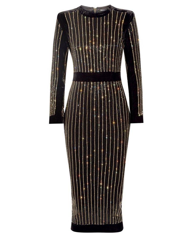 whoinshop Women's Long Sleeve Crystal Diamond Midi Cocktail Dress Black S
