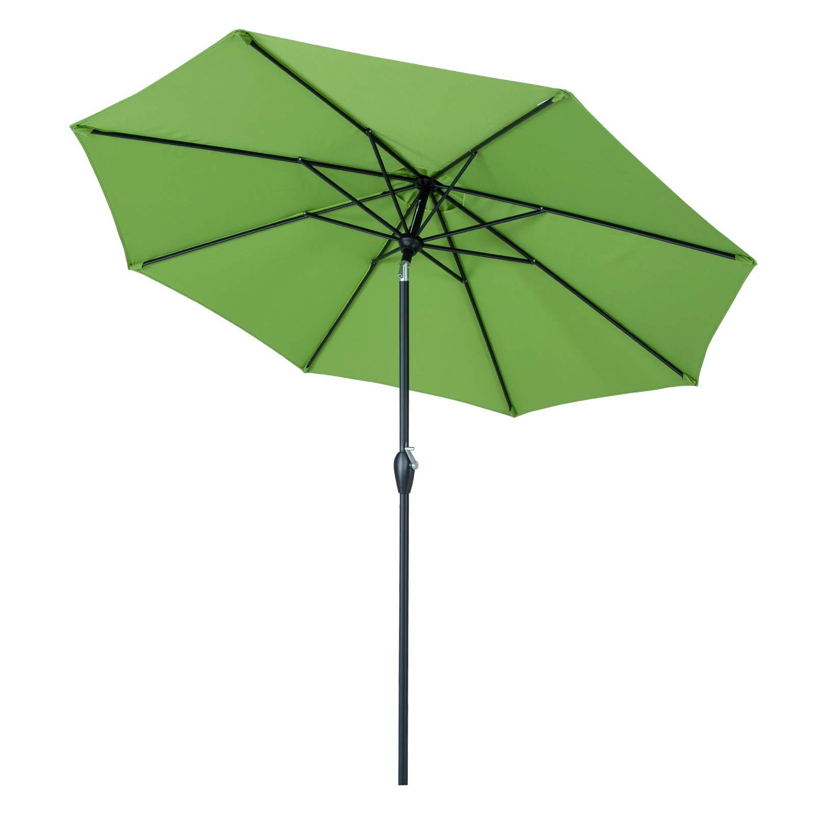 Tempera 9 ft Auto-Tilt Patio Umbrella Outdoor Market Table Umbrella, 8 Steel Ribs, Green