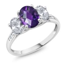 Gem Stone King 10K White Gold Diamond Accent Checkerboard Purple Amethyst White Topaz 3-Stone Ring 2.00 Ct (Available 5,6,7,8,9)