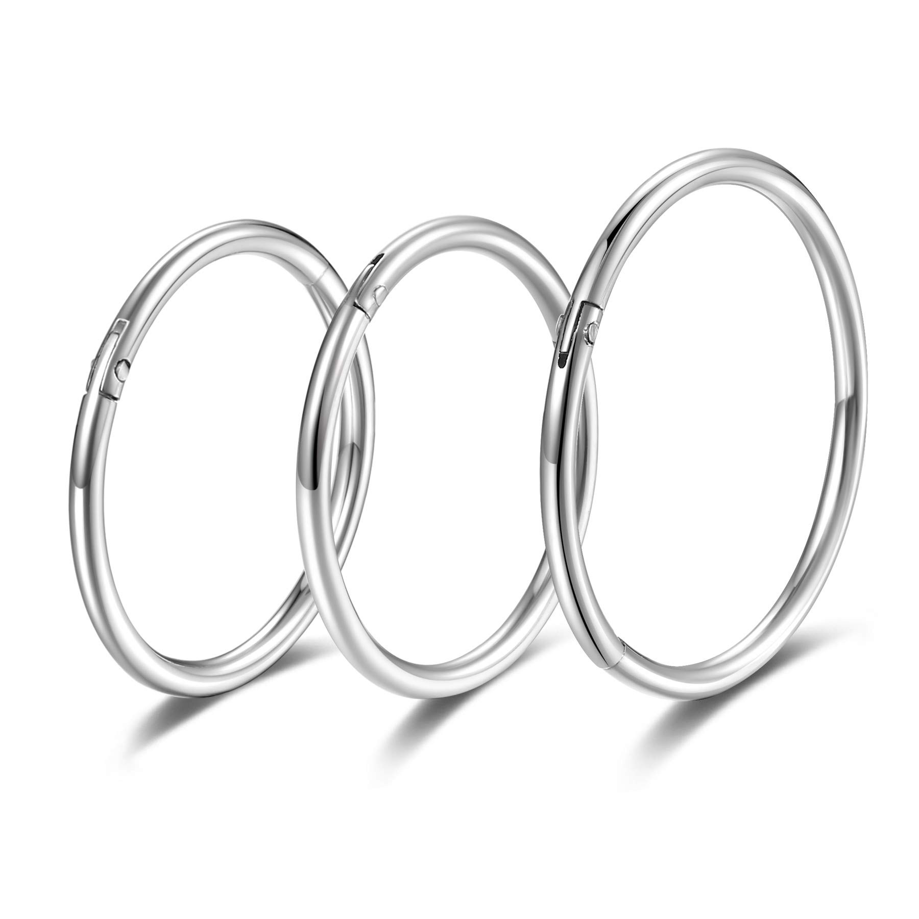 Hinged 20g 18g 16g Nose Rings Hoops 6mm 8mm 10mm 12mm 14mm 16mm Septum Ring Clicker Cartilage Helix Hoop Earrings Set