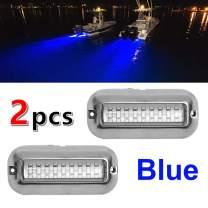 VOFONO Pair Stainless Steel DC12V 27LED Blue Underwater Pontoon Marine/Boat Houseboat Navigation Transom Trailer Lights Waterproof IP68