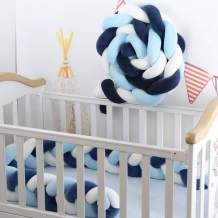 Lion Paw Baby Bed Decor Bedside Protector Bedding Sets 158in Breathable Knotted Braided Plush Nursery Crib Decor Newborn Gift Cradle Decor (White-Blue-Navy Blue, 158in)