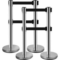 VEVOR Stanchion Post Barriers 4-Set Line Dividers Stainless Steel Stanchions with Dual 6.6 Feet Black Retractable Belts Silver Stanchions 34.6 Inch Height Queue Safety Stanchions