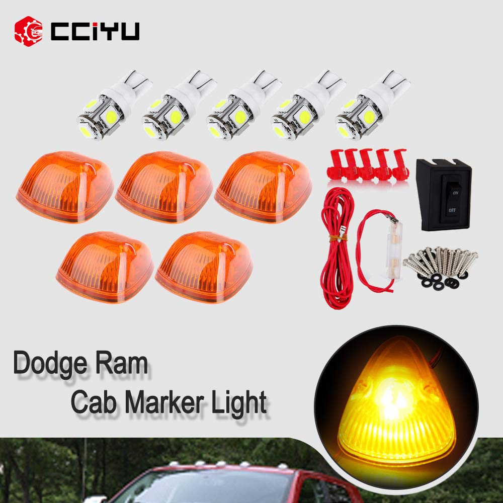 Cab Marker Light 5pcs Amber Lens Lights with w/T10 White Bulbs+1 Set Wiring Pack Switch Wire Harness fit for 1994 1995-1998 Dodge Ram 1500 2500 3500