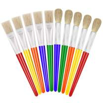 anezus Paint Brushes for Kids, 10 Big Paint Brushes Round and Flat Hog Bristle Paint Brushes for Washable Paint Acrylic Paint