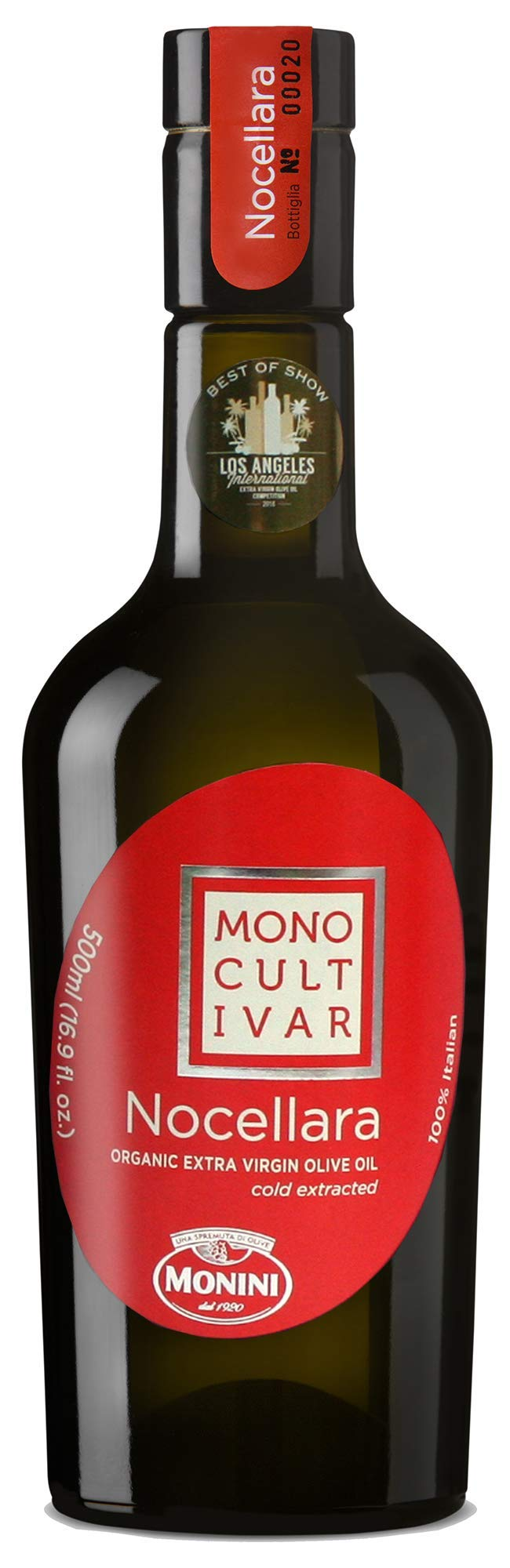 MONINI Monocultivar Extra Virgin Olive Oil   ORGANIC Italian Imported, Premium Quality   Cold Extracted   500ml (16.9oz) (Nocellara)