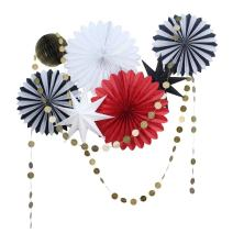 SUNBEAUTY Red White and Black Tissue Paper Fans Gold Twinkle Star Paper Garlands Christmas Party Decorations Kit, 9 Pieces (Black White Red)