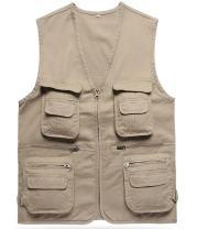 Gihuo Men's Casual Cotton Summer Outdoor Pockets Fish Photo Journalist Vest