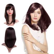 MelodySusie Middle length Dark Brown Curly Wig for Women Girl, Synthetic Wigs with Inclined Bangs Natural as Real Hair Adjustable Size Cosplay Halloween Party Wig with Free Wig Cap, Dark brown