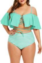 Hotvivid Women Ruffle High Waisted Swimwear Plus Size Off Shoulder Striped Two Piece Swimsuit