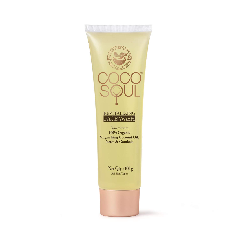Coco Soul Ayurvedic & Coconut Face Wash - 3.38 fl.oz. (100g) - Neem & Gotukola, Virgin King Coconut, Sulphate Free, Paraben Free, Silicone Free, DEA Free, Cruelty Free, Mineral Oil Free