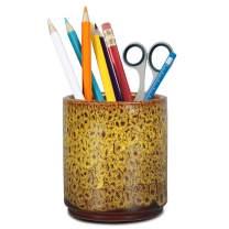 Teagas Retro Desk Pencil and Pen Holder Ceramic Glaze Pen Cup Makeup Brush Holder Creative Desk Organizer Yellow