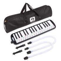 Vangoa Melodica 32 Key Pianica Black Portable Melodicas with Cleaning Cloth, Double Mouthpieces Tubes and Carrying Bag for Kids Beginners Adults Gift