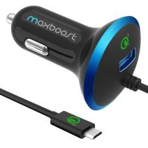 Maxboost USB Car Charger 33W with Quick Charge 2.0 Port + Build-in USB Type C Cable Compatible with iPhone, Galaxy S20 Ultra S10 S10+ S10e 5G S9 S8 / Plus, Note 10 9, LG Moto and More (M-AL-TC-01)