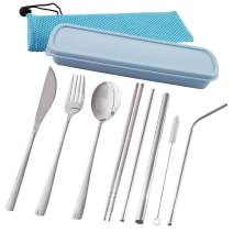 Travel Utensils, hyhjh Reusable Portable Cutlery Camping Utensil Set with Case Including Stainless Steel Knife Fork Spoon Chopsticks Cleaning Brush Straws Pack of 10 (Blue)