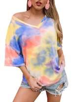 Womens V Neck Summer T Shirt Plus Size Short Sleeve Tie Dye Knit Tops