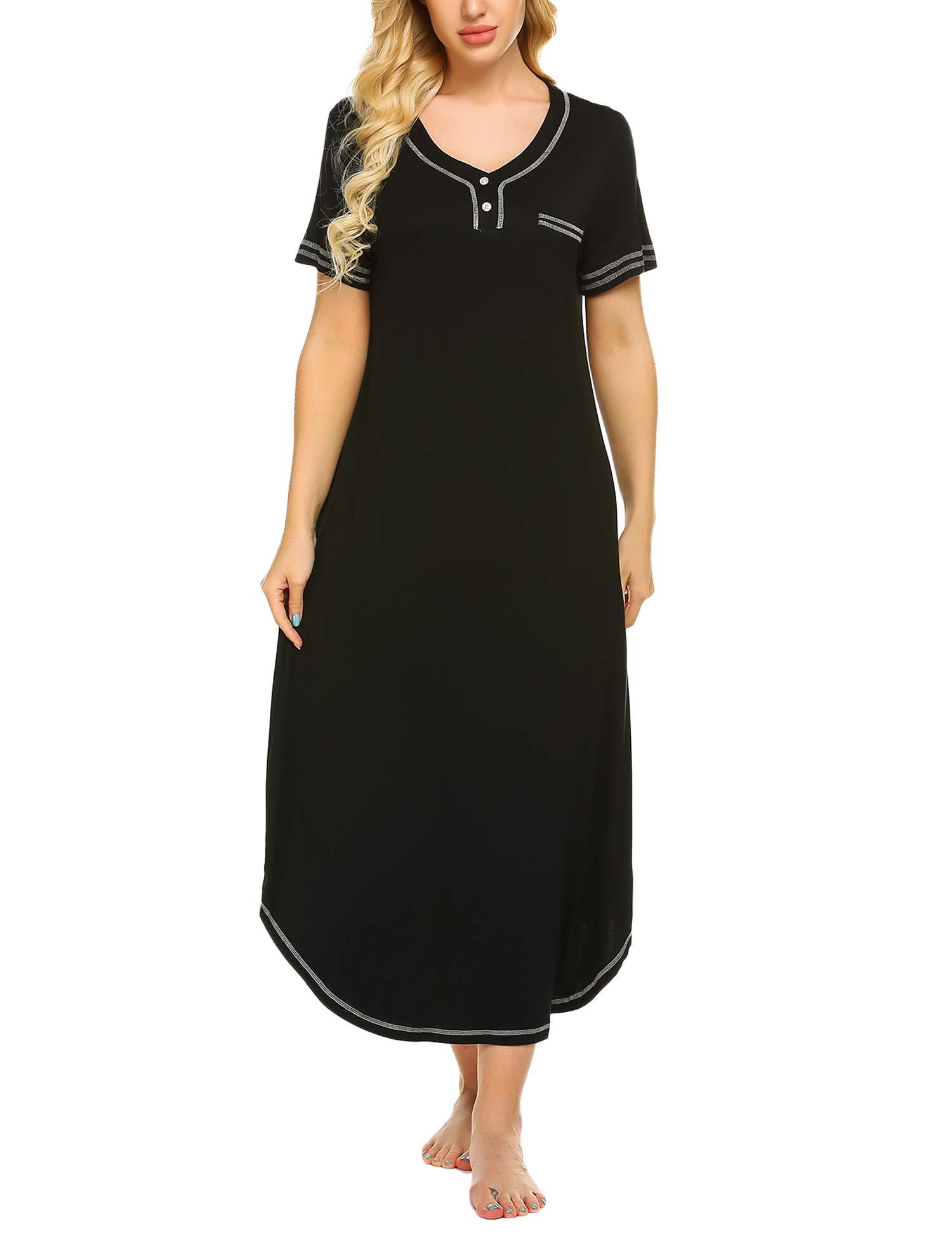 Ekouaer V Neck Sleepshirts Women Cotton Short Sleeve Nighty Maxi Dress Nightgown Pocket (Black, X-Large)