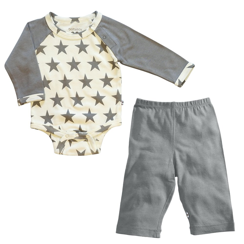 Babysoy Star Bodysuit/Romper + Comfy Solid Pants Playwear Set