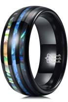 THREE KEYS JEWELRY Men Wedding Bands 8mm Tungsten Blue Opal Inlaid Abalone Shell Inlay Carbide Ring with Jewels Polished Infinity Unique for Him Black Size 13.5