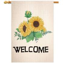 STYLEZONE Welcome Sunflower Large House Flag Vertical Double Sided Spring Summer Burlap Yard Outdoor Decoration 28 x 40 Inch