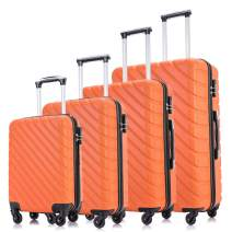 Apelila Hardshell Luggage ABS Luggages Sets With Spinner Wheels Hard Shell Spinner Carry On Suitcase … (Orange, 4 PCS)