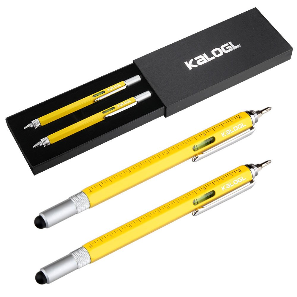 """Multitool Pen [2 Pack] Stylus Pen 9-in-1 Combo Pen [Functions as Touchscreen Stylus, Ballpoint Pen, 4"""" Ruler, Level, Phillips Screwdriver, and Flathead] Gift (Yellow/Yellow)"""