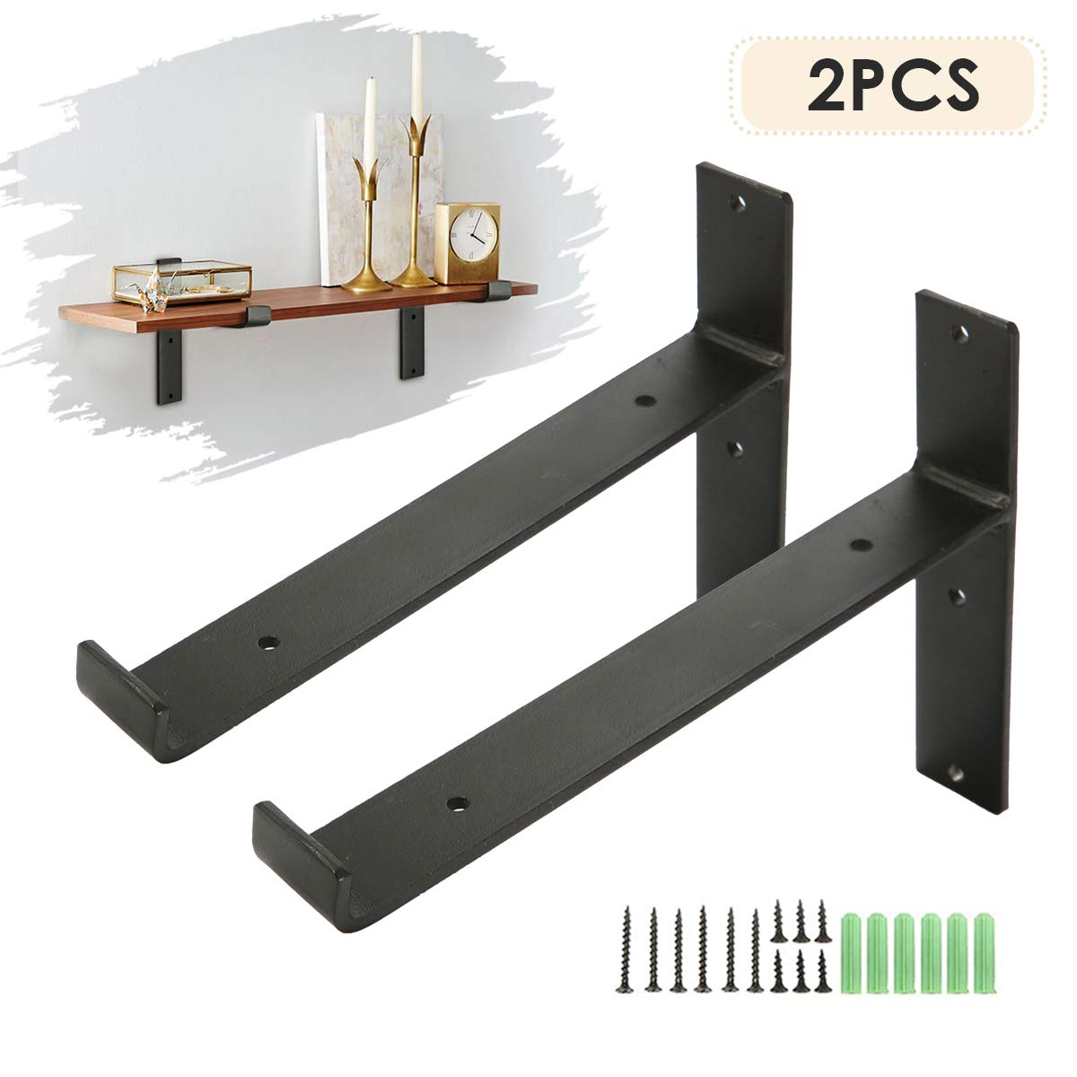 king do way Metal Wall Shelf Brackets 8''L x 6''H Rustic Shelf Supports, Flush Fit, Hardware Only - Bracket Set of 2, Includes Screws & Wall Anchors