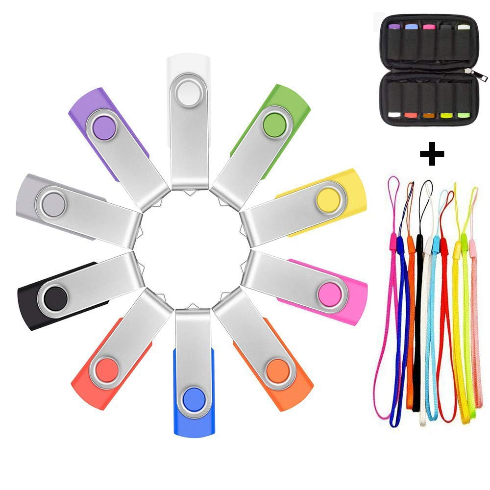 10 X ARETOP 32GB Flash Drive USB 2.0 with Lanyards and Case USB Swivel Thumb Drives Bulk Memory Sticks 32GB Pendrive Jump Drive for Data Storage (32GB,10pack Mix Color)