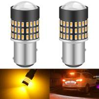 KATUR 1157 BAY15D 1016 1034 7528 Led Light Bulb Super Bright 900 Lumens High Power 3014 78SMD Lens LED Bulbs for Brake Turn Signal Tail Backup Reverse Brake Light Lamp,Amber(Pack of 2)