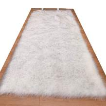 HUAHOO Faux Fur Sheepskin Rug White Gray Kids Carpet Soft Faux Sheepskin Chair Cover Home Décor Accent for a Kid's Room,Childrens Bedroom, Nursery, Living Room or Bath. 3' x 5' Rectangle