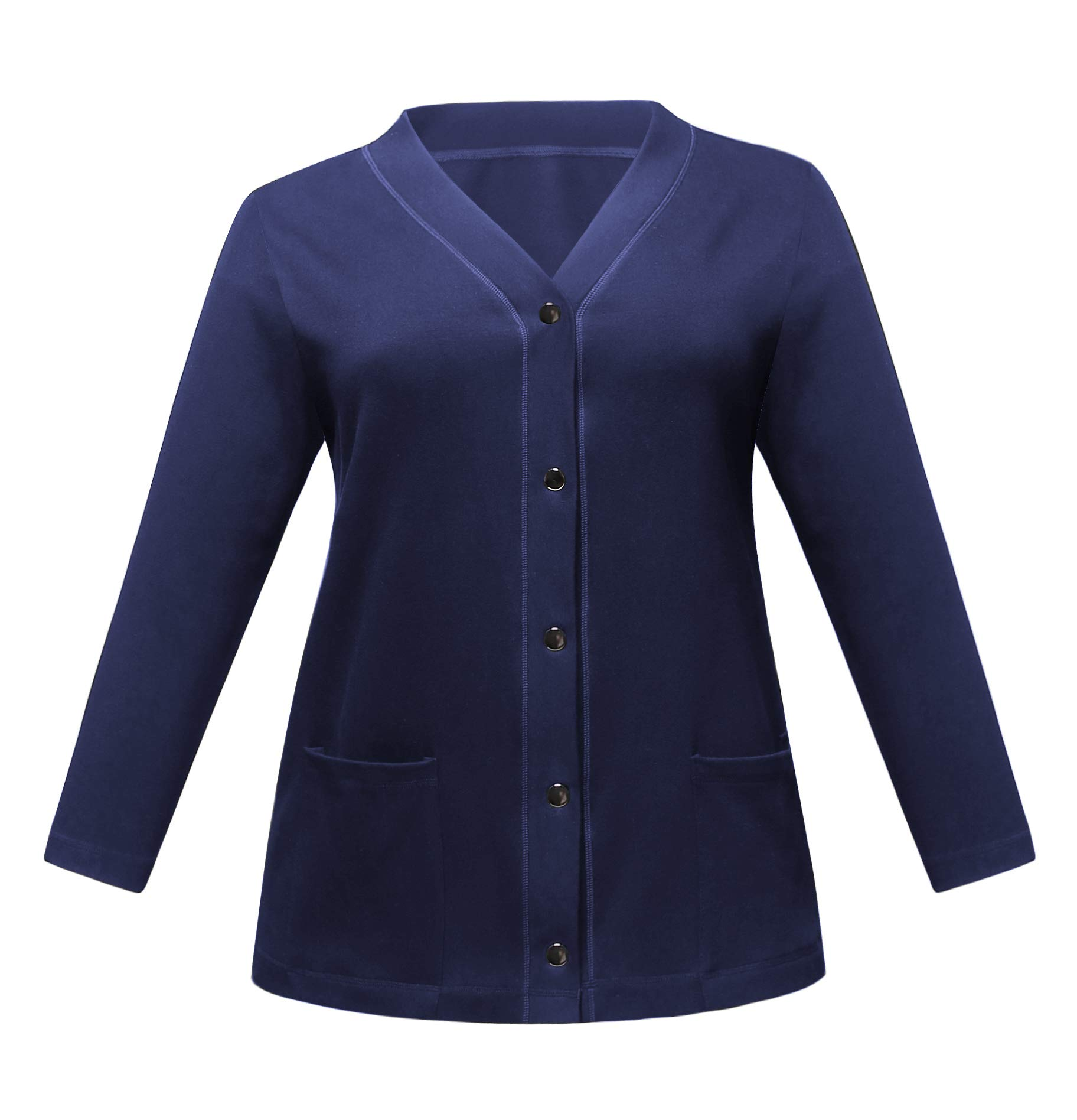 ZERDOCEAN Women's Plus Size V-Neck Snap Button Cardigan Sweater Soft Cotton Knit Long Sleeve with Pockets