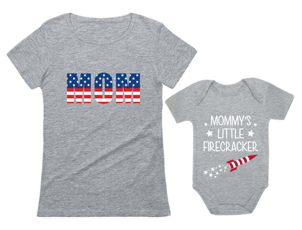 USA Mom Mommy's Little Firecracker Outfit 4th of July Patriotic Matching Set