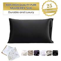 LilySilk Silk Pillowcase for Hair 100 Mulberry Silk Standard 20x30 Inch 1pc Black 25 Momme Charmeuse Double-Side Silk Fabric Gift Box