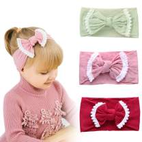 ZIQIAN Baby Girls Headbands bow Head band soft Nylon Knotted Hairband Fits Infant Toddler Little Girl (3 PACK)