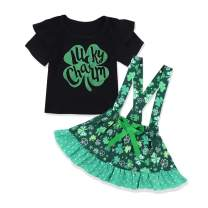 Toddler Baby Girl My 1st St. Patrick's Day Outfit Lucky Clover T-Shirt+ Short Skirt 2PCS Outfit Set
