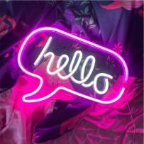 """Hello LED Light Neon Word Sign Neon Word Letters Light Kids' Room Décor Wall Decor for Christmas Baby Room Birthday Party,Living Room,Wedding Party Holiday Decor 16.9""""x12.6""""(Pink White Hello)"""