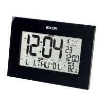 BALDR Digital Alarm Clock for Desk or Wall, Battery Operated, Self-Setting Atomic Clock with Large Display - Displays Time, Date, Weekday & Indoor Temperature