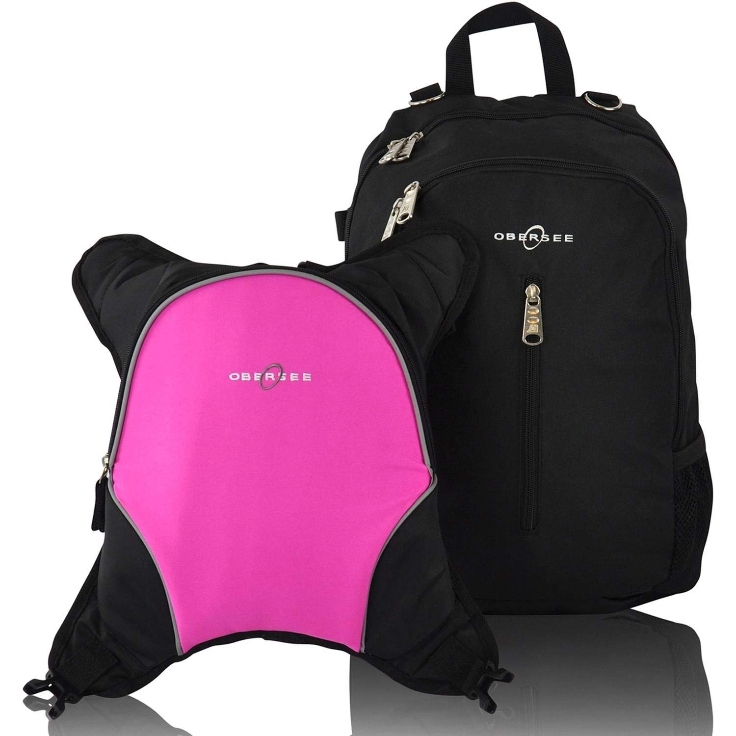 Rio Diaper Backpack with Baby Bottle Cooler and Changing Mat, Shoulder Baby Bag, Food Cooler, Clip to Stroller (Black/Pink) - OberseeObersee Rio Diaper Bag Backpack with Detachable Cooler, Black/Pink