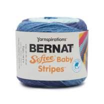 Bernat Softee Baby Stripes Yarn, 4.2 oz, Gauge 3 Light, Blue Yonder Stripe