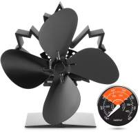 GALAFIRE [ 2 Years ] Heat Powered Wood Stove Fan 122°F Fast Started Fireplace Fan Silent Small Log Burner Fan + Thermometer