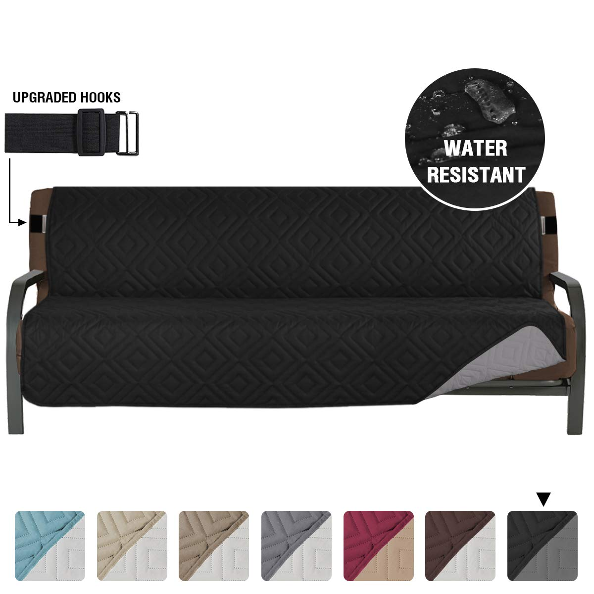 Picture of: Armless Futon Cover Futon Slipcover Full Queen Size Futon Couch Cover Futon Sofa Cover Futon Bed Cover Furniture Protector Water Repellent Soft Thick Quilted Reversible Seat Width 70 Black Grey