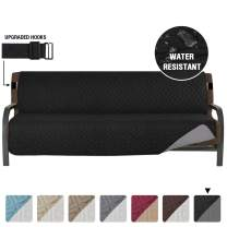 """Armless Futon Cover Futon Slipcover Full Queen Size Futon Couch Cover Futon Sofa Cover Futon Bed Cover Furniture Protector Water Repellent Soft Thick Quilted Reversible, Seat Width: 70"""", Black/Grey"""