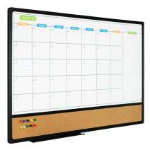 JILoffice Magnetic Calendar Whiteboard & Bulletin Corkboard Combination, Combo Board 36 x 24 Inch, Black Aluminum Frame Wall Mounted Board for Office Home and School with 10 Push Pins
