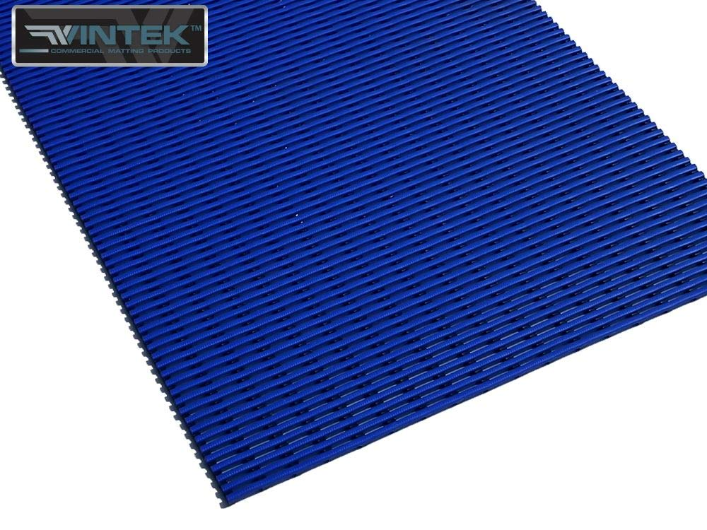 "VinGrate Mat Wet Area Floor Matting for Swimming Pool Shower/Locker Room Bathroom Sauna SPA 4-Way Water Drain Indoor/Outdoor Use 3/8"" Thick Non-Slip Comfortable on Barefoot (3' x 7', Blue, 1)"