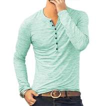 WULFUL Men's Casual Slim Fit Henley Long Sleeve Shirt Lightweight Basic T-Shirt