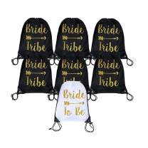 7 Pieces Bride and Bride Tribe Drawstring Bags,Wedding Drawstring Gift Bag for Bridesmaids Bridal Party Supplies