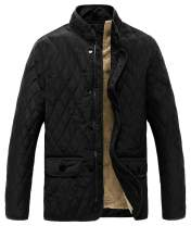 MADHERO Men Quilted Coat Winter Diamond Fleece Jacket Outerwear